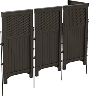 product image for Suncast 4 Freestanding Wicker Resin Reversible Outdoor Panel Screen Enclosure, Brown