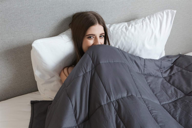 減圧ブランケット加重毛布大人のための15ポンド約130-160ポンド(60 '' x 80 '')ガラス玉付きグレイプレミアムコットン B07QVJ3H6X