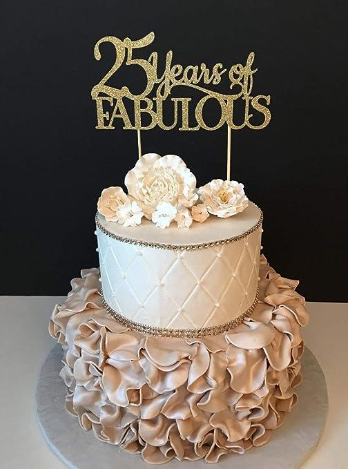 Decoración Para Tarta De Cumpleaños De 25 Años De Cumpleaños