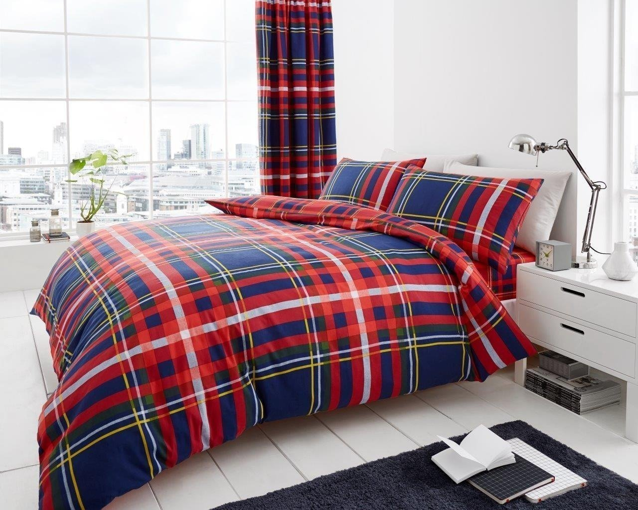 Gaveno Cavailia Luxury NEWTON TARTAN CHECK Bed Set with Duvet Cover and Pillow Case, Polyester-Cotton, Navy, Double 11134763