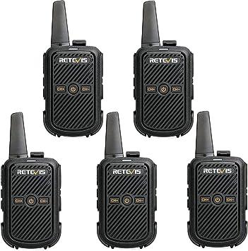 Retevis RT15 Walkie Talkie Profesional 16 Canales 2W Two Way Radio 50 CTCSS/208 DCS Transceptor Recargable VOX Escaneo Transmisores-receptores con EU Adaptador (Negro, 5 Packs): Amazon.es: Electrónica