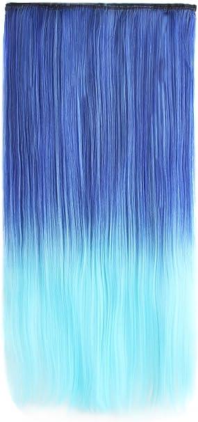 MapofBeauty 24 Pulgadas/60cm Hermoso Color Mezclado Largo Recto 5 Clip Extensión Para El Cabello (Azul Claro/Azul Oscuro)