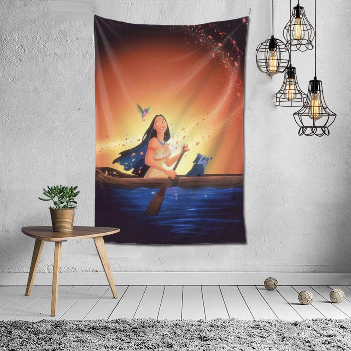 Colorful Wind Poc-Aho-Ntas Tapestry Wall Hanging Tapestry for Living Room Bedroom Dorm Decor 60 X 40 Inch Wall Blanket Tapestry Indoor Tapestries,Black,One Size