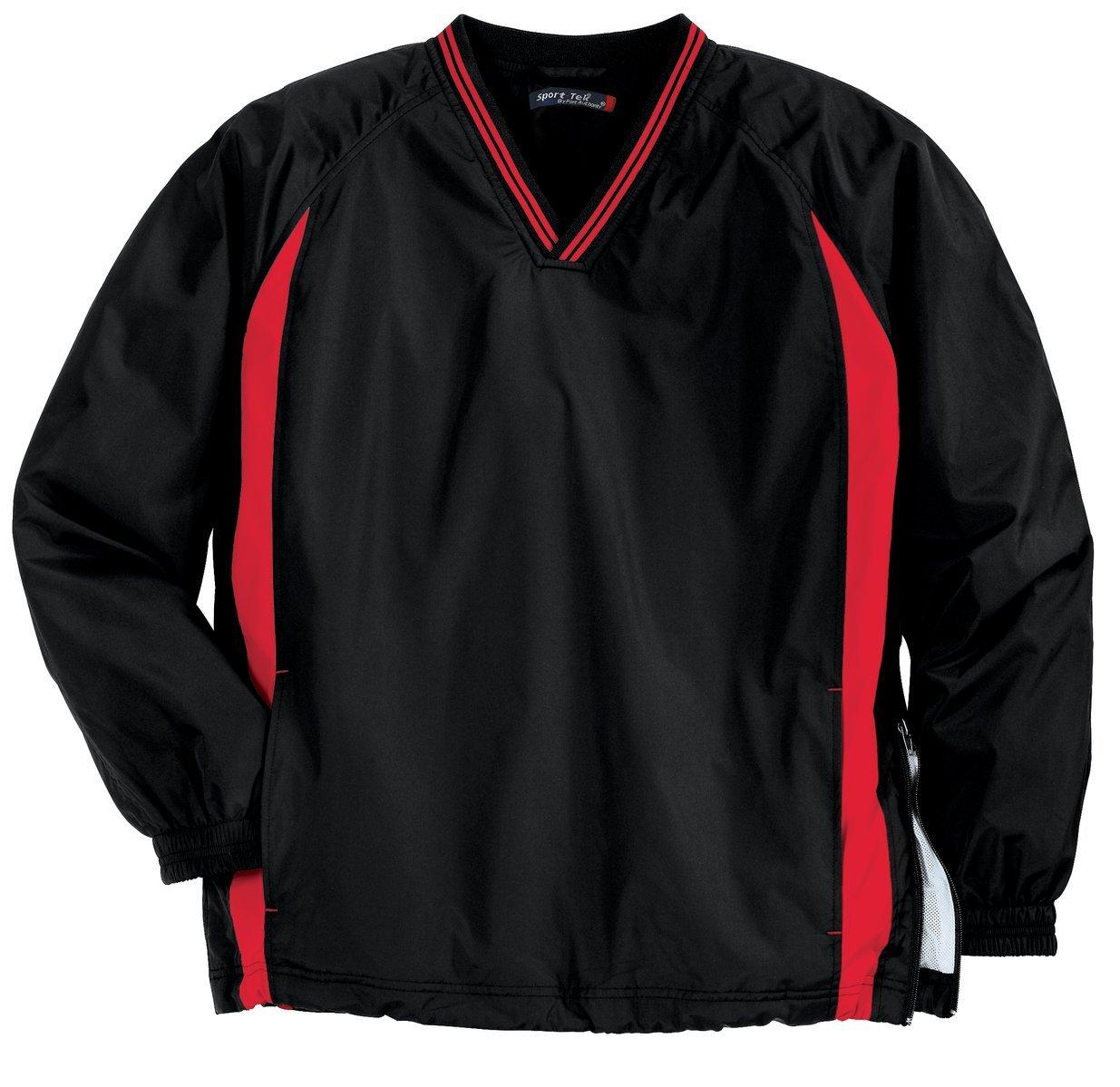 Sport - TekメンズTall Tipped Vネックラグラン風シャツ B00PCRHW98 4L Black/Tr Red Black/Tr Red 4L