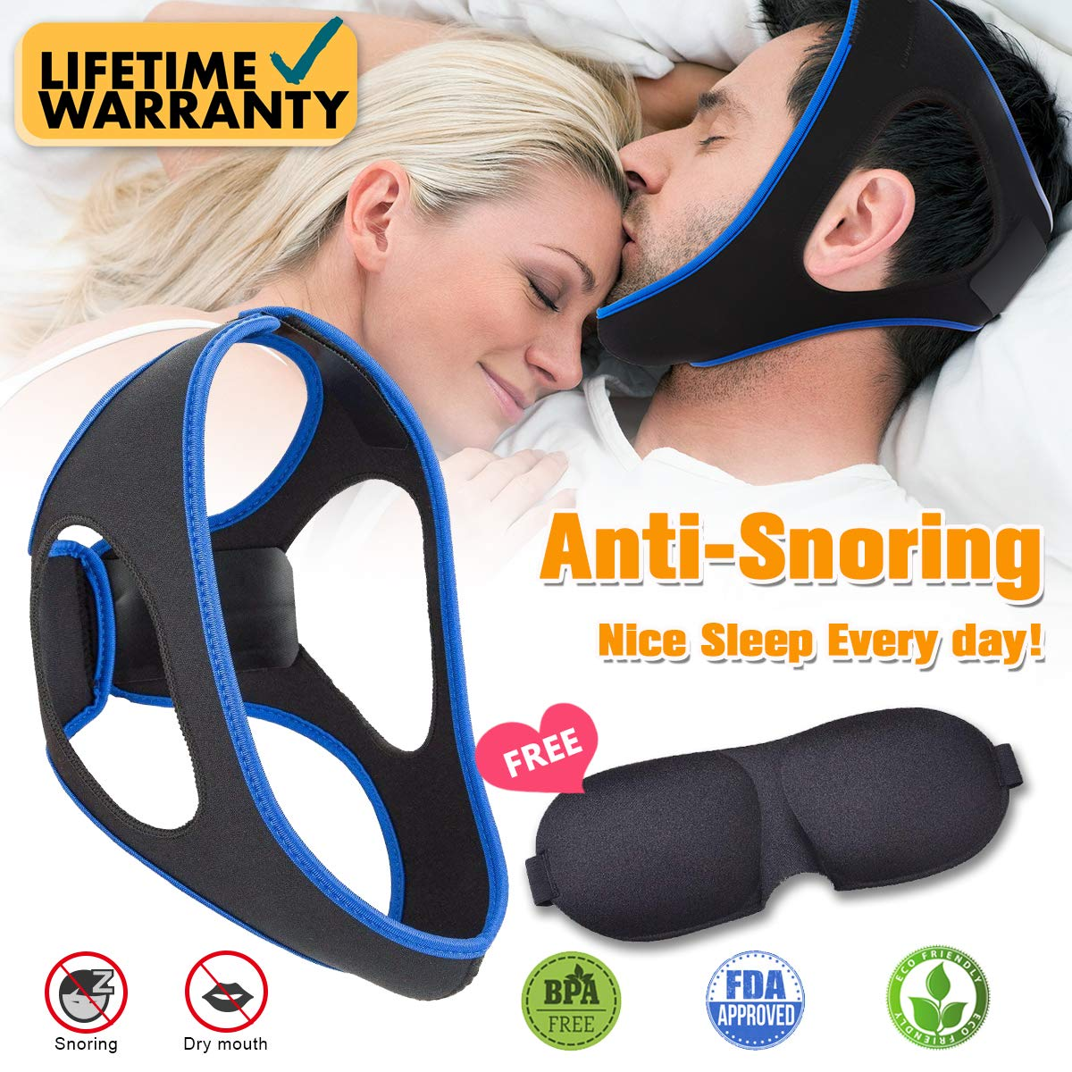 Sleep Masks Anti Snoring Chin Strap for Men and Women, Ajustable Stop Snoring Solution Anti Snoring Devices-W9 (Anti Snoring1) by Copeaky
