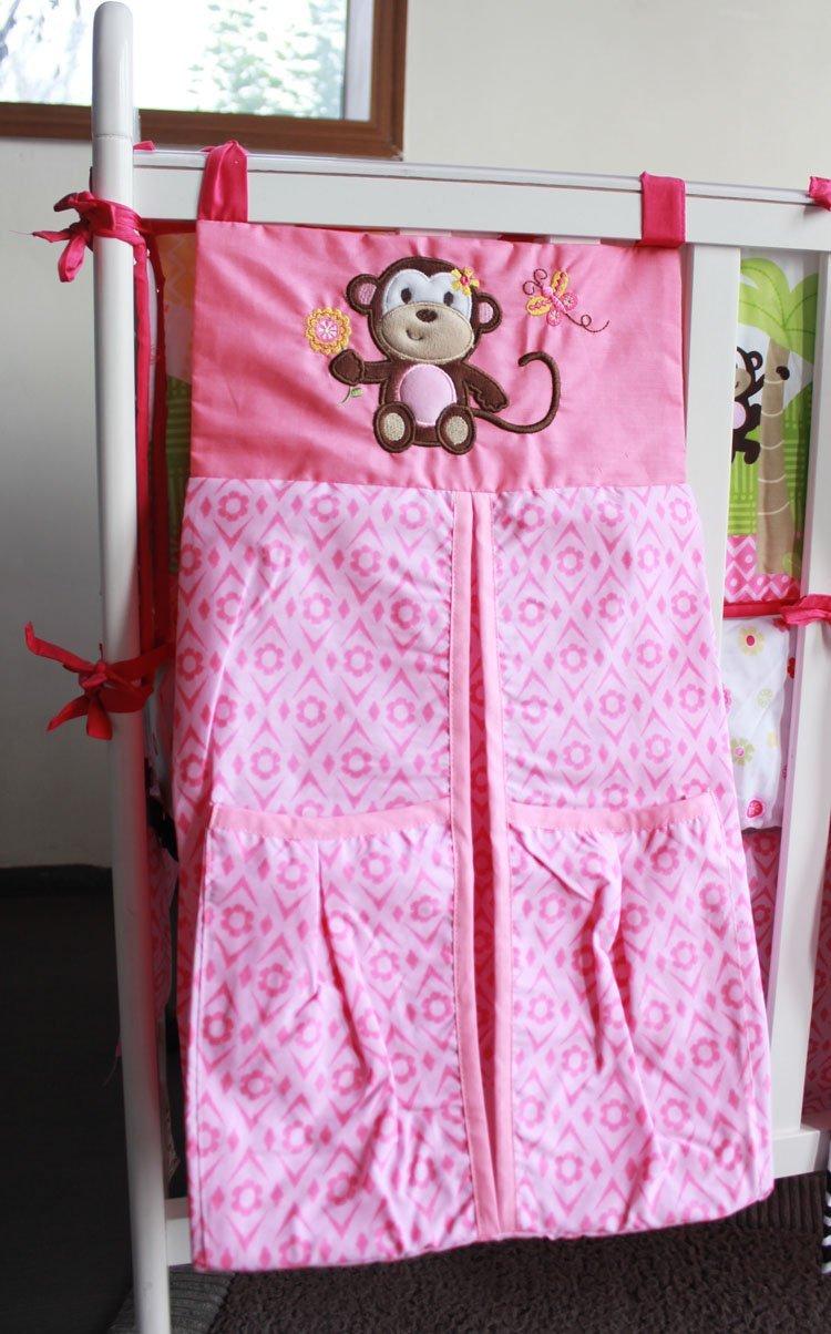 NAUGHTYBOSS Girl Baby Bedding Set Cotton 3D Embroidery Zebra Giraffe Monkey Anmial Quilt Bumper Mattress Cover Urine Bag 8 Pieces Multicolor