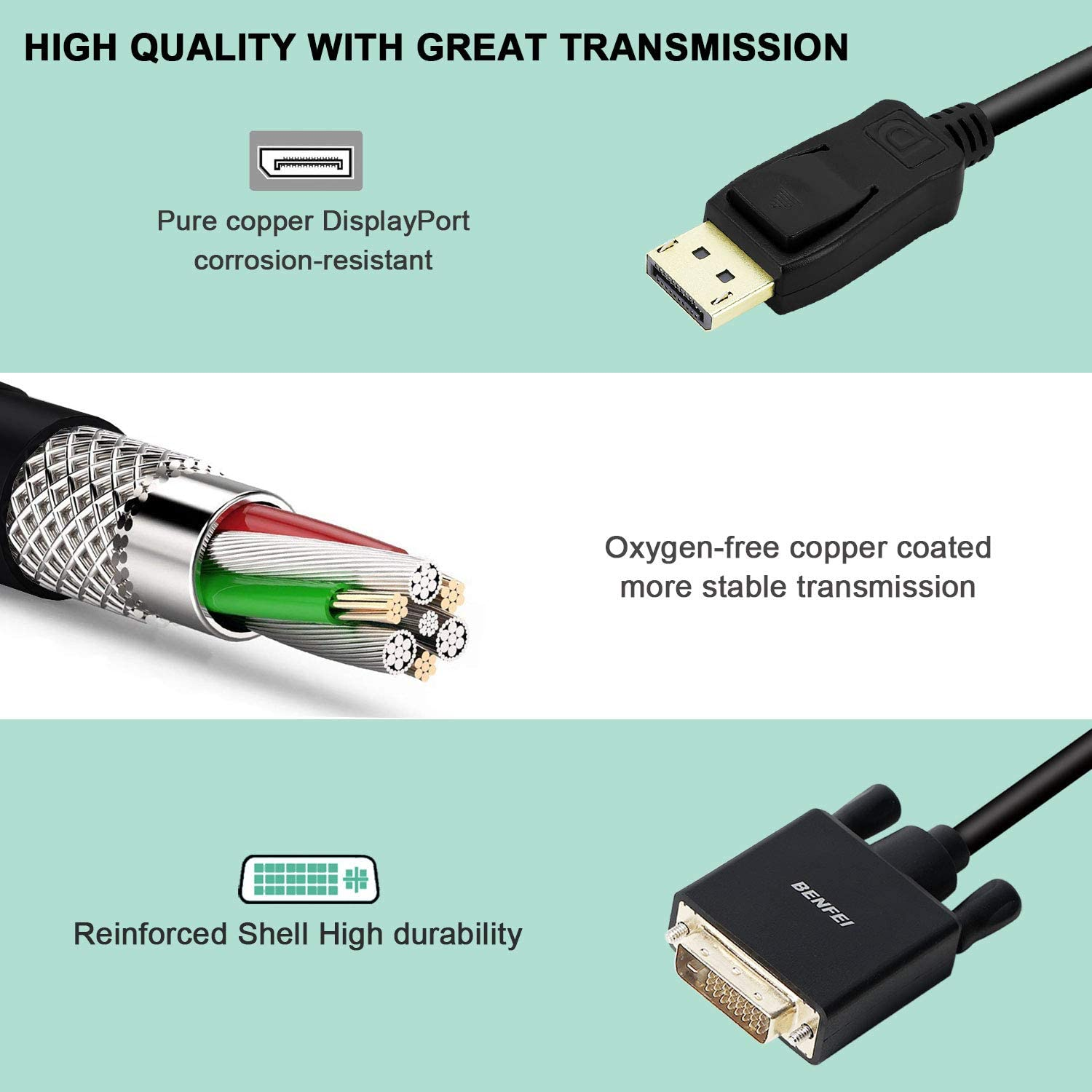 ALINKER DisplayPort to DVI Cable DP to DVI Display Cable Male to Male Gold-Plated Cord 6 Feet