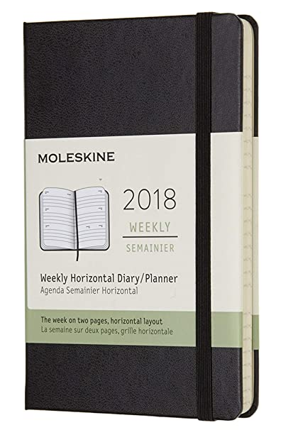 NPW DHB12WH2Y18 - Agenda semanal 2018, de bolsillo, 12 meses, color negro
