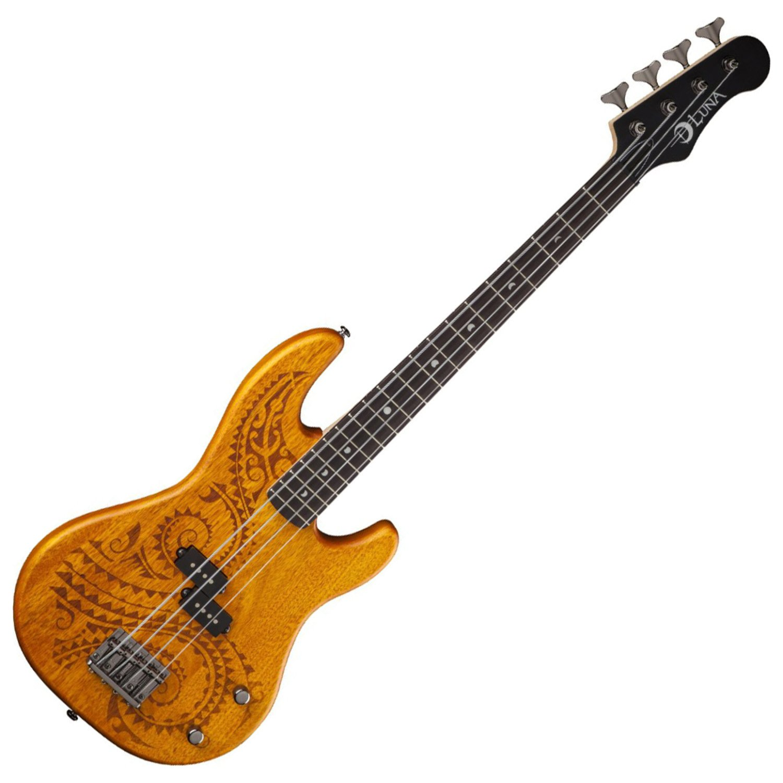 Luna TAT30 Tattoo Etched Mahogany Body Short Scale Electric Bass Guitar, Rosewood Fretboard, Matte