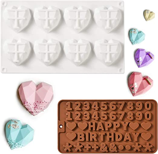 3D Silicone Chocolate Mold Candy Cookie Heart Shape Cake Decors Baking Mould DIY