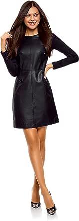 oodji Ultra Mujer Vestido de Piel Sintética Combinado