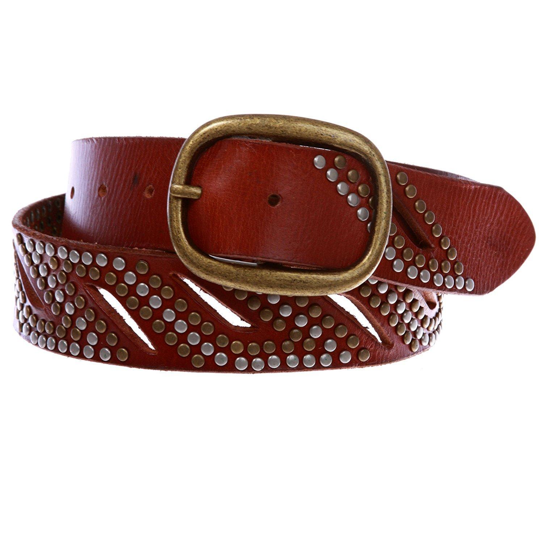 MONIQUE Men Rivet Studs Perforated Double Prong Leather Snap On 1.5 Belt