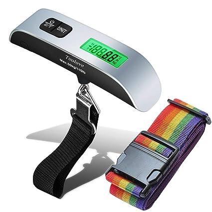 Báscula Digital para Pesaje de Equipaje con Correas de Seguridad Ajustables, Toolove 110lb / 50kg