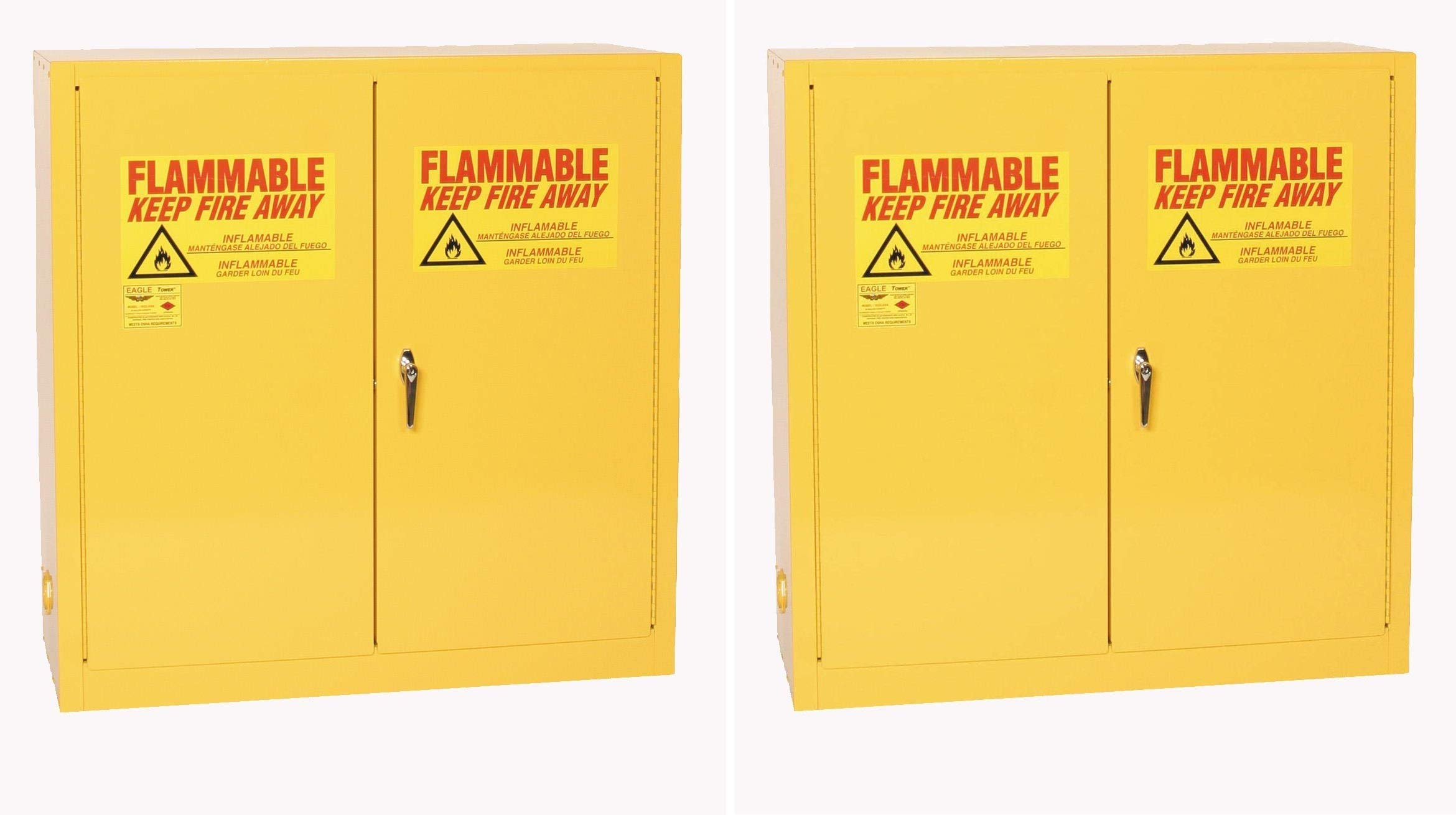 Eagle 1932 Safety Cabinet for Flammable Liquids, 2 Door Manual Close, 30 Gallon, 44''Height, 43''Width, 18''Depth, Steel, Yellow (Pack of 2)
