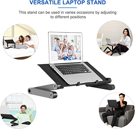 Cigooxm HY-AP9001-B 9-Level Adjustable Laptop Stand Folding Portable Non-Slip Supports Holder Hollow-Out Heat Dissipation for 12-17inches Mobile Phones//Laptops//Tablet PC with Foot Stand