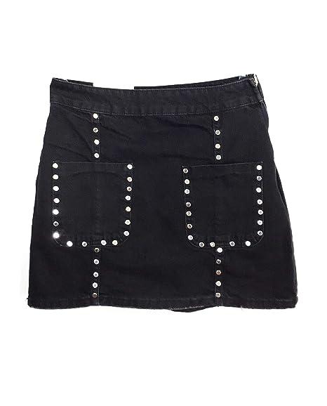 8708fa0a16 Zara Women's Mini Skirt zw Premium Rocky Shadow Black Studs 6840/263 (X-