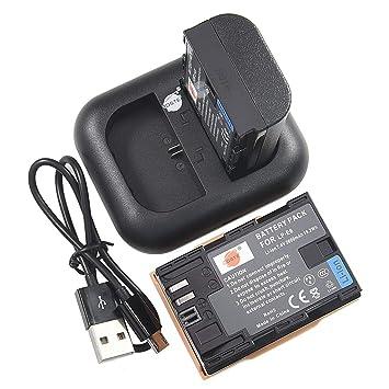 DSTE 2pcs Batería + Cargador de Batería USB Compatible con Canon LP-E6 LP-E6N EOS 5D 7D Mark III, 5D 7D Mark II 5DS 6D 70D 60D 60Da 80D 90D