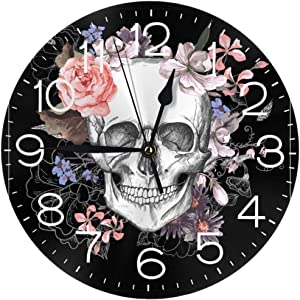 """N/W Skull and Flowers Wall Clock 10"""""""" Round,- Battery Operated Wall Clock Clocks for Home Decor Living Room Kitchen Bedroom Office"""