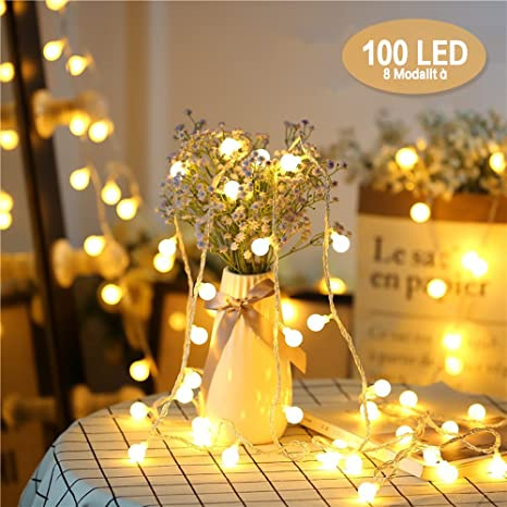 Catena Luminosa, Chenci Luci Stringa Lampadina 100 LED Ghirlanda 10m E Cavo  Di Prolunga 3m