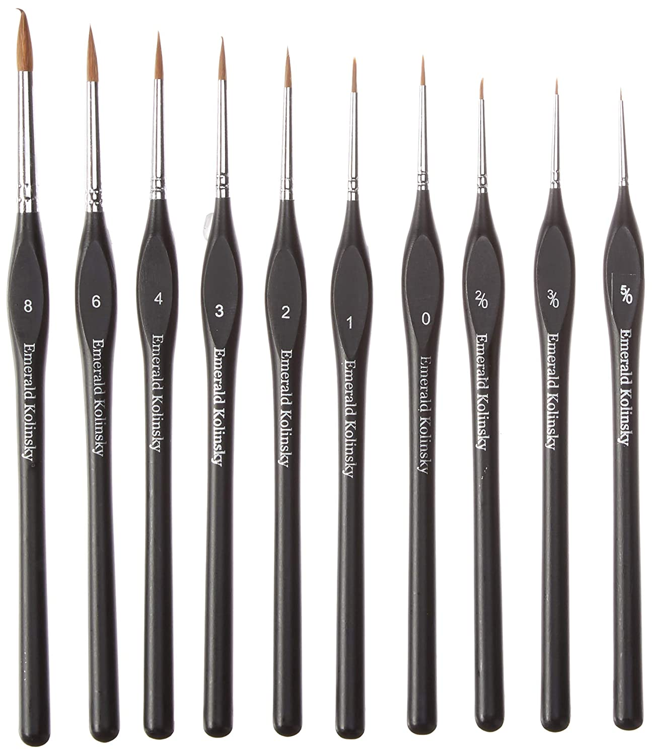 Best Professional Siberian Kolinsky Sable Detail Paint Brush, Value Set of 10, High Quality Miniature Brushes Will Keep a Fine Point and Spring, For Watercolor, Oil, Acrylic, Nail Art & Models Emerald Art Supply