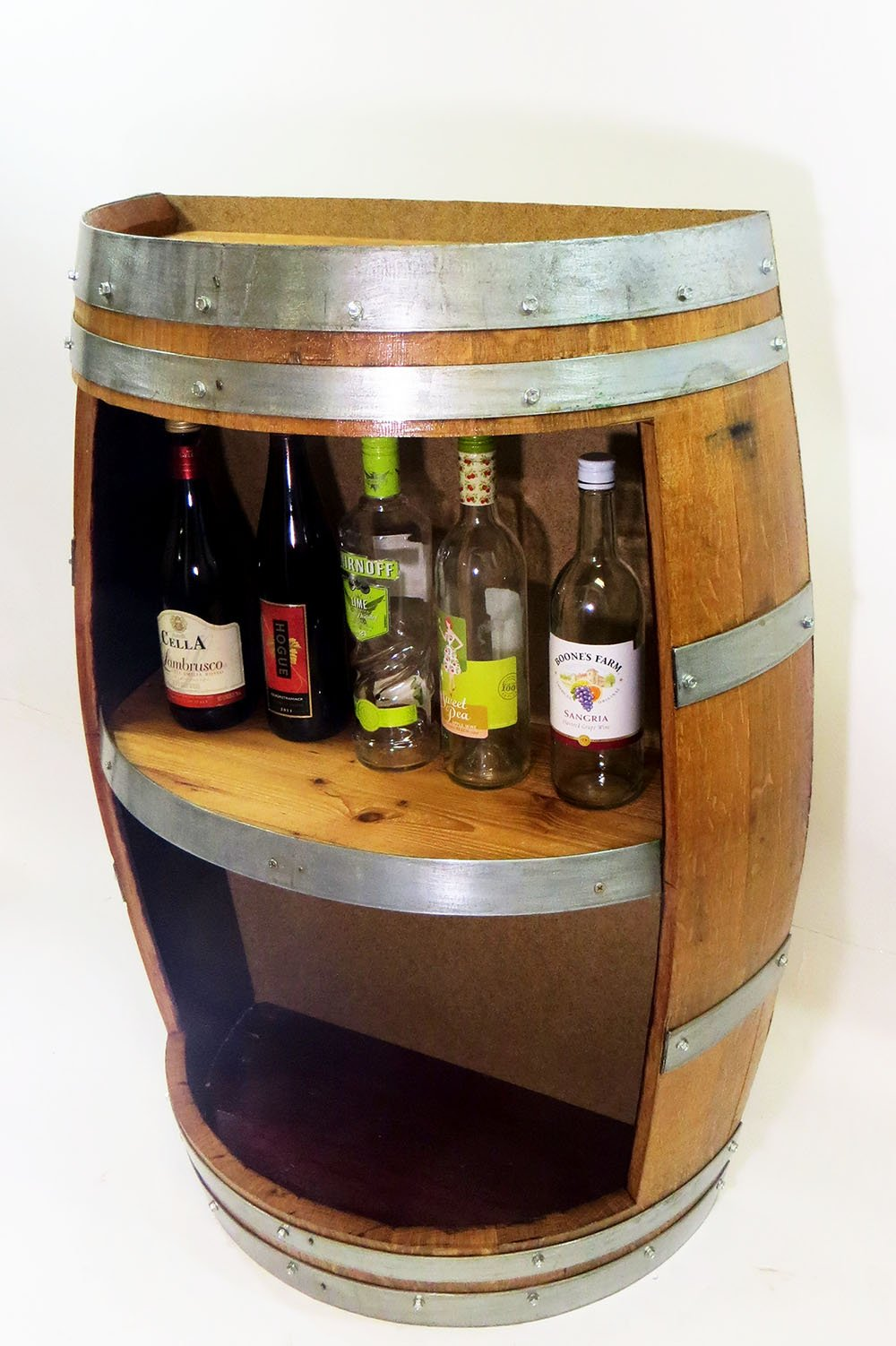 Split Barrel Shelf, handcrafted with reclaimed wine barrel, 36''H x 26''W x 13''D