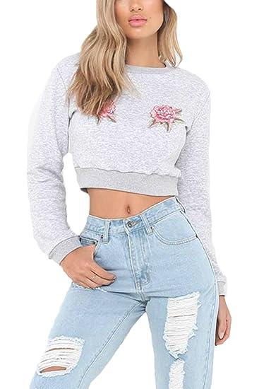 Casual Mujeres Sudadera Pullover Sweater Manga Larga Bordado Parches Crop Top Blusa: Amazon.es: Ropa y accesorios