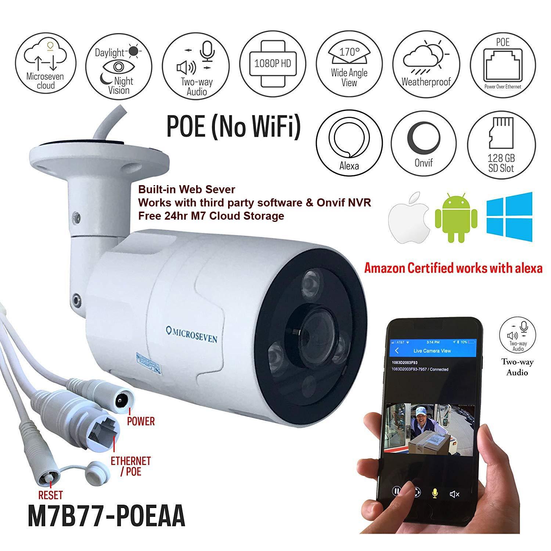 Microseven 1080P Certified Works Alexa HD POE IP Camera, Free 24Hr Cloud,Two-Way Audio Wide Angle (170°) IR Outdoor Built-in Microphone & Speaker 128GB SD Slot, ONVIF, Live Streaming microseven.tv