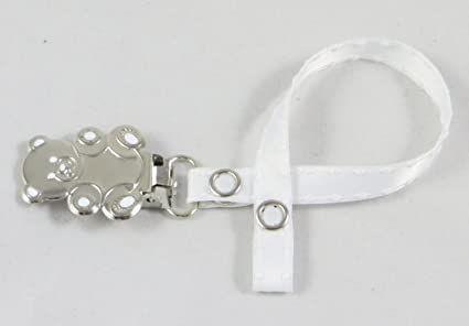 Girl Boy osito chupete clip blanco satinado Dressy, ideal ...