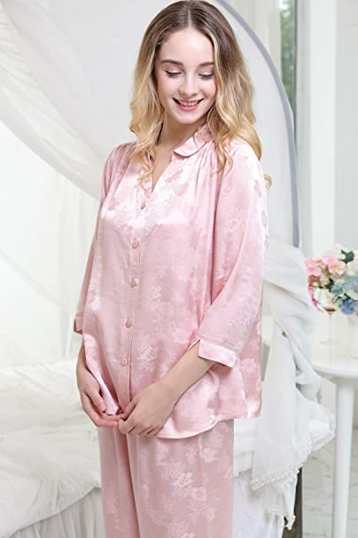 a09f04f173 Chesslyre Luxury Charmeuse Jacquard Silk Satin Pajamas Women Nightwear 2  Piece Sets at Amazon Women s Clothing store
