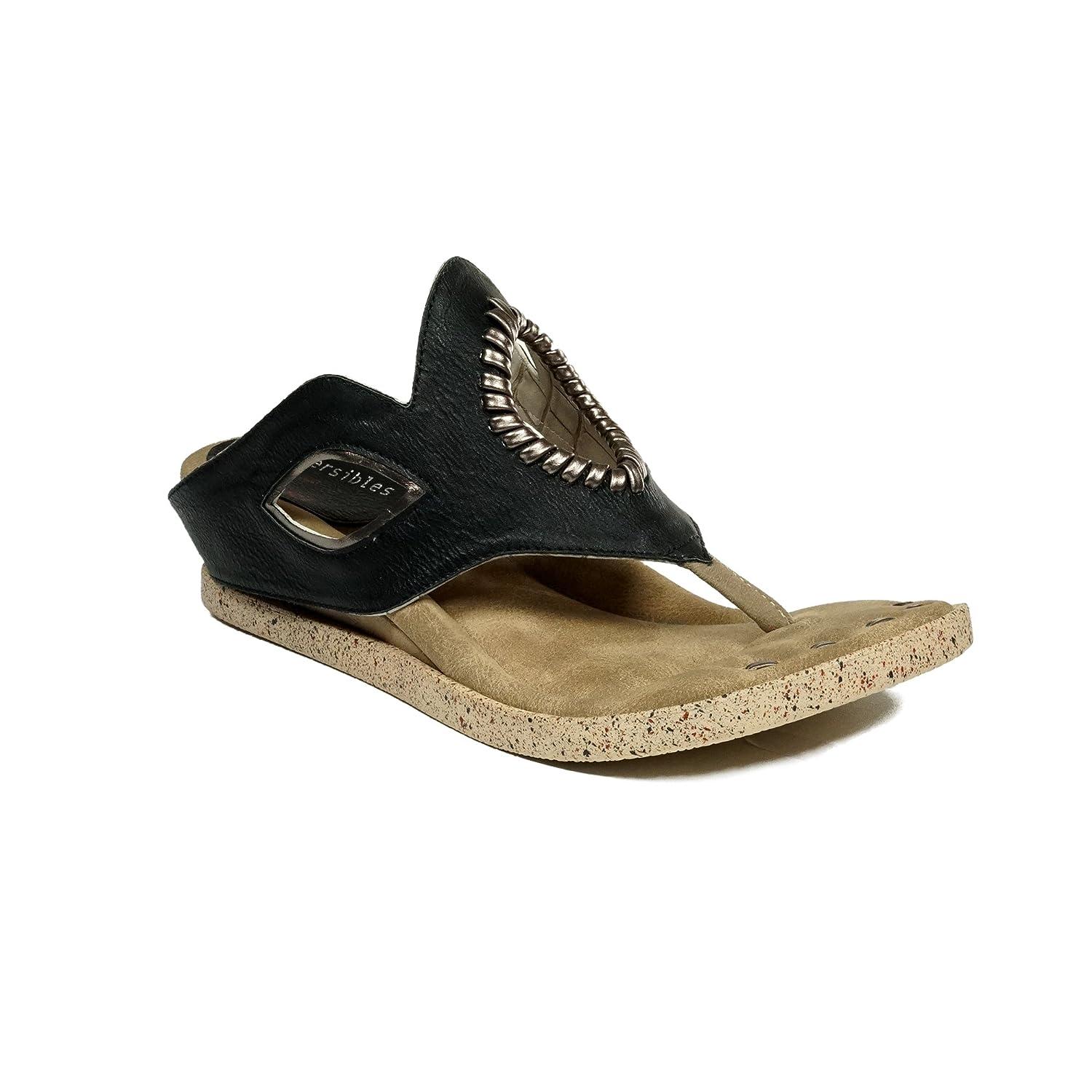 Modzori Lirah Women's Low Wedge Reversible Sandal B07BVGQBP9 10 B(M) US|Black/Bone