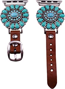 Wonderent 40mm/38mm Compatible for Apple Watch, Delicate Western Turquoise Flower Watch Band No. 13