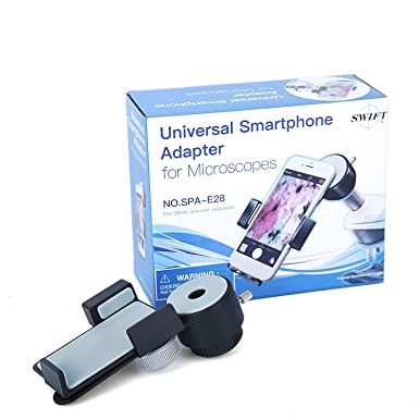 SWIFT Microscope accesorios SPA-E28, Soporte de adaptador universal para teléfono celular Smartphone, compatible con microscopios trinoculares binoculares y telescópico, diámetro 28 mm: Amazon.es: Industria, empresas y ciencia