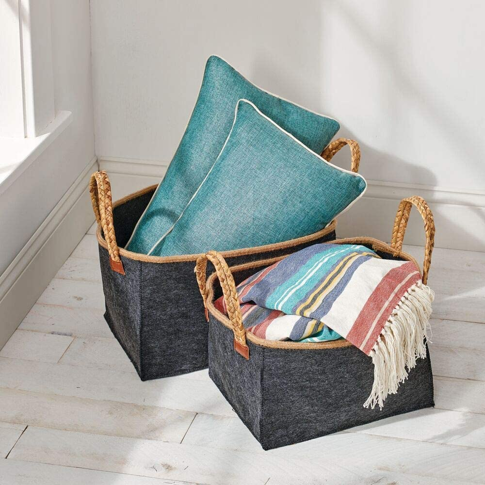 Rectangular Storage Bins Made of Felt mDesign Set of 2 Storage Boxes with Plaited Handles Black Foldable and Portable Basket with Handle in 2 Sizes