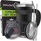 Stainless Steel Travel Mug with Handle 30oz – 6 Piece Set. Tumbler with Handle, Straw, Cleaning Brush & 2 Lids. Double…