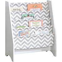KidKraft Wooden Sling Shelf Bookcase - White and Gray Chevron Pattern - Canvas Fabric, Kids Bookshelf, Young Reader…