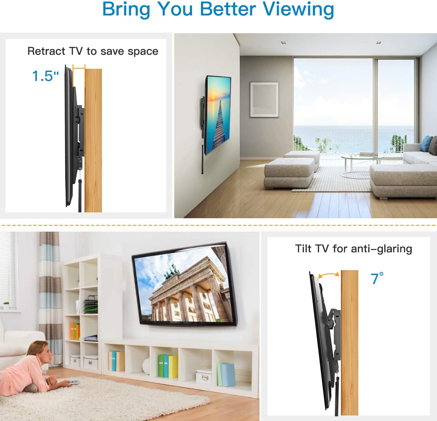 Large Tilting Mount Fits 16-24 Inch Wood Studs Max VESA 600x400mm Holds up to 132lbs by Pipishell Tilt TV Wall Mount Bracket Low Profile for Most 37-70 Inch LED LCD OLED Plasma Flat Curved Screen TVs