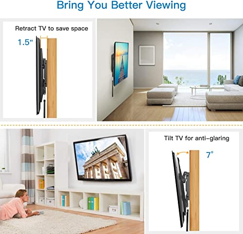 Tilt TV Wall Mount Bracket Low Profile for Most 37-70 Inch LED LCD OLED Plasma Flat Curved Screen TVs, Large Tilting Mount Fits 16-24 Inch Wood Studs Max VESA 600x400mm Holds up to 132lbs by Pipishell