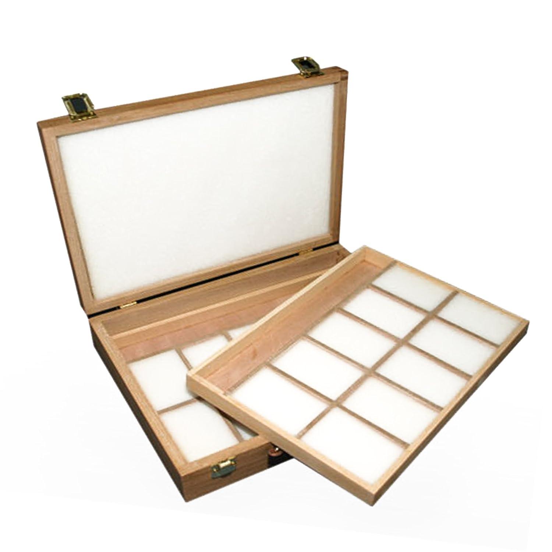 Loxley Epworth Artist Utensilienbox fü r Kü nstler, aus Hartholz, mit 2 Einsä tzen, 36 x 28 x 8 cm, Natur Colourfull Arts WB-500