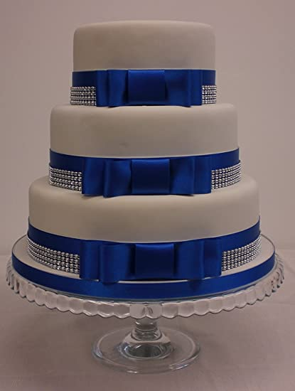 Wedding Cake Bow Set Satin Royal Blue Ribbon Silver Diamante