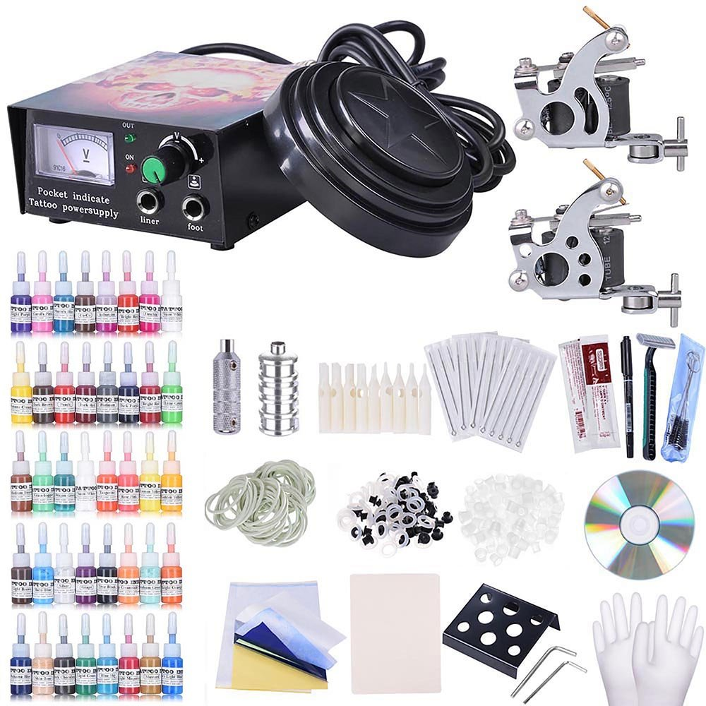 AW Complete Tattoo Kit 2 Machine 40 Inks Power Supply 10 Wraps Gun Needle Grip Tip Foot Switch by AW