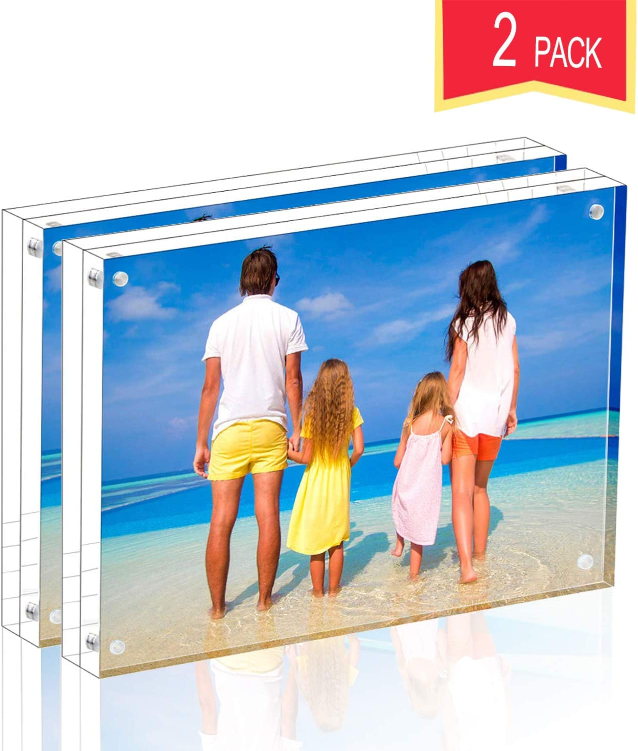 Meetu Acrylic Picture Frame 4x6 Tabletop Photo Frame Magnetic Double Sided Frame Free Standing Desktop for Display Document, Certificate, Photograph, Artwork in Office Room
