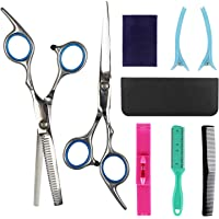Hairdressing Scissors Kits Stainless Steel Hair Cutting Shears Set Thinning/Texturizing Scissors Bang Hair Scissor Professional Barber/Salon/Home Shear Kit For Men Women Pet (blue)