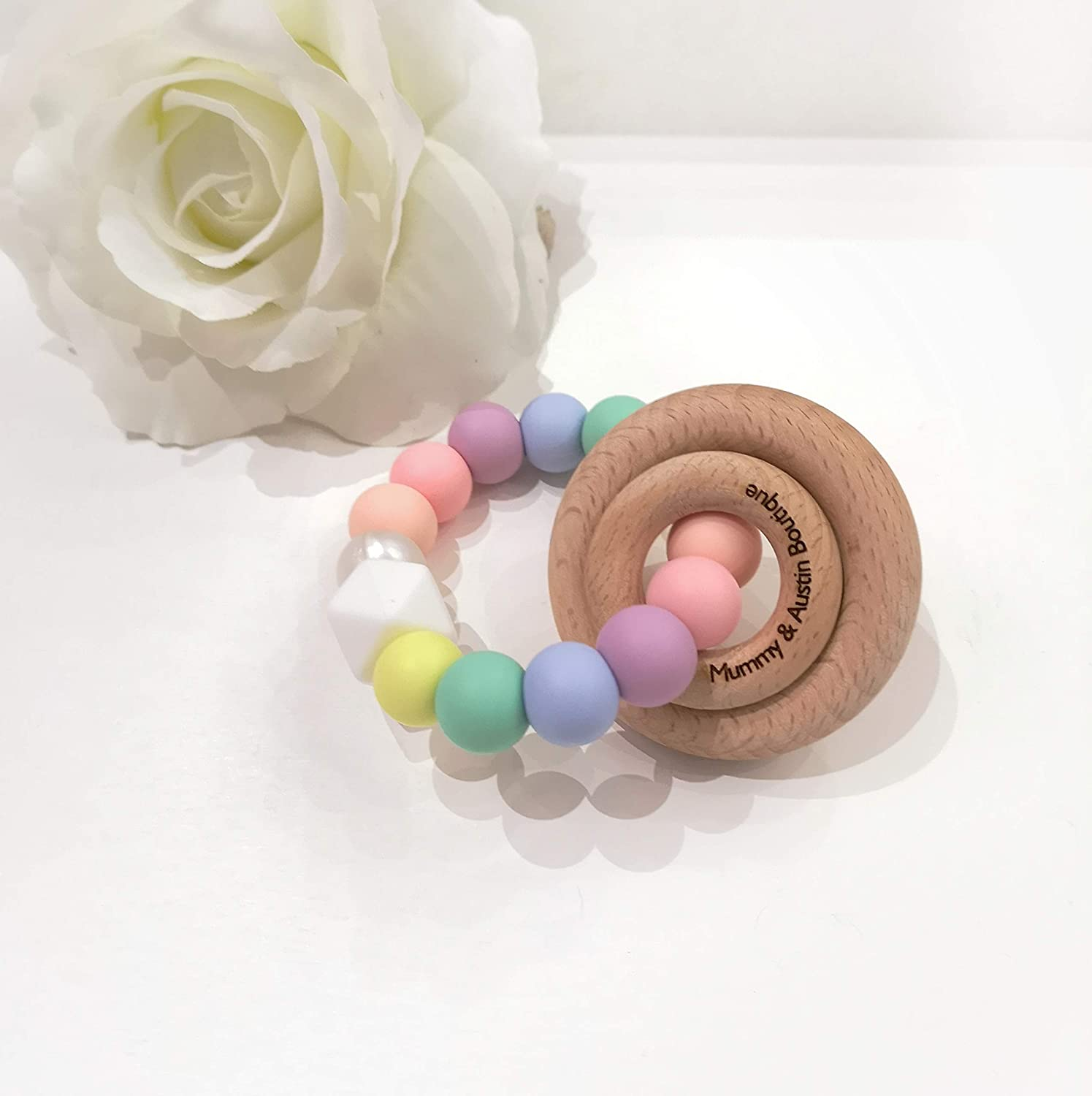 Bright Fun Rainbow Pastel Teething Ring Teether Aid Toy Wooden Rattle BPA FREE Silicone Bead New Mum Baby Shower Gift Fully CE Certified Handmade UK CANDYFLOSS
