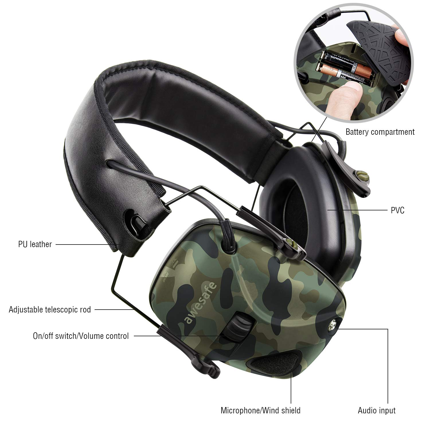 Awesafe Electronic Shooting Earmuff, Awesafe GF01 Noise Reduction Sound Amplification Electronic Safety Ear Muffs, Ear Protection, NRR 22 dB, Ideal for Shooting and Hunting … Camon by awesafe  (Image #5)
