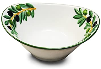 Handgemachte Italienische Keramikschale Im Olivendesign, Ovale  Salatschüssel Keramik Ca. 25 X 21 X 8