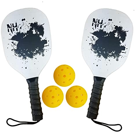 2 Wood Pickleball Paddles & 3 Balls - Wooden Pickleball Racket with Smooth Face - Ultra Cushion Grip Low Profile Paddle with 2 Balls (2 Paddles & 3 ...