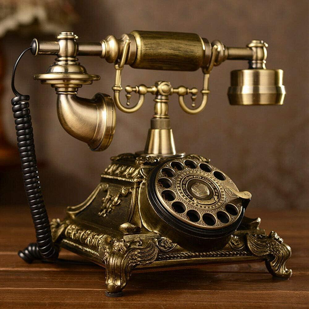 Retro Rotary Phone, Vintage Telephone Retro Phone Old Fashion Telephone Vintage Rotary Dial Phone Desk Phone Antique Design Telephone Landline Phone Home Office Decor Telephone (US Stock) (Type 1)