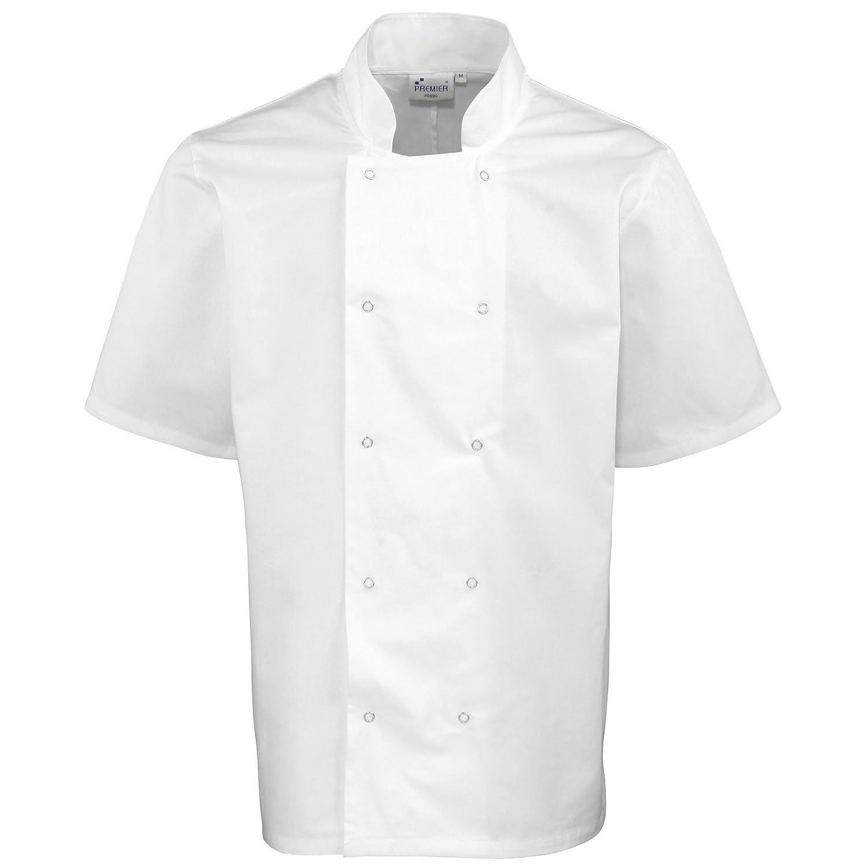 Unisex Premier Giacca Maniche Corte da Chef Bottoni Automatici