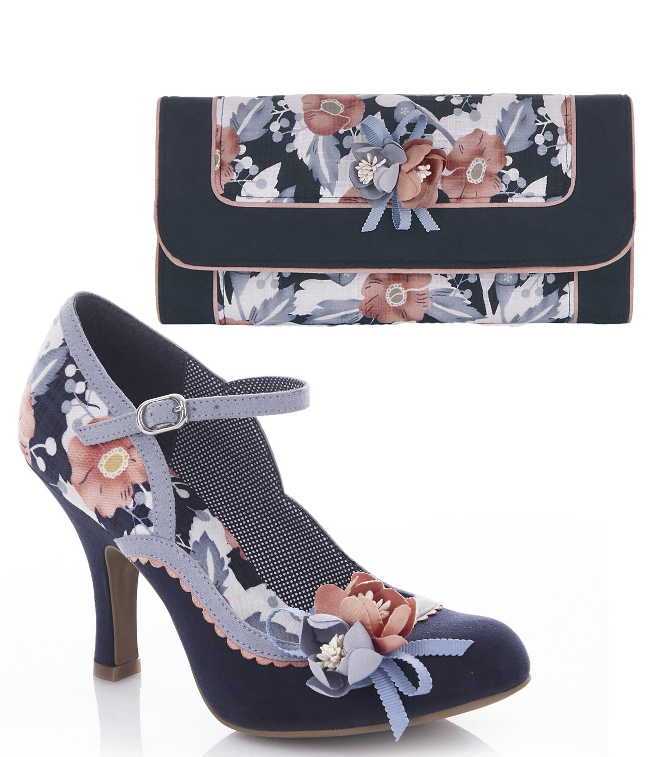 Ruby Shoo Women's Navy Floral Silvia Mary Jane Pumps & Matching Genoa Bag UK 7 EU 40