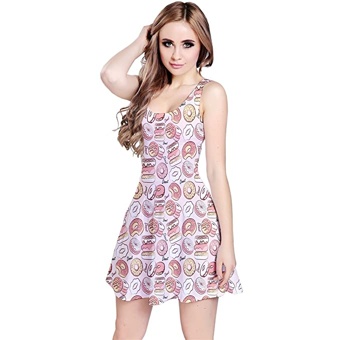 b67fc48fb6b6 CowCow Womens Pink Donut Pattern Sleeveless Skater Dress at Amazon ...
